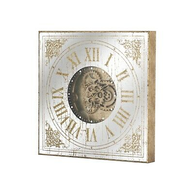 Antique Style Mirrored Gold Square Industrial Cog Wall Clock (H19498)