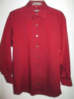 Claiborne By John Bartlett Men S Burgundy L Dress Shirt Sz 15 5 X 32