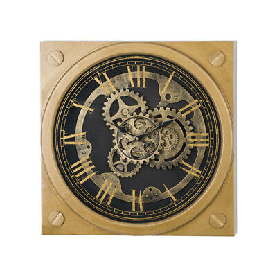 Antique Style Mirrored Gold Black Square Industrial Cog Wall Clock (H19595)