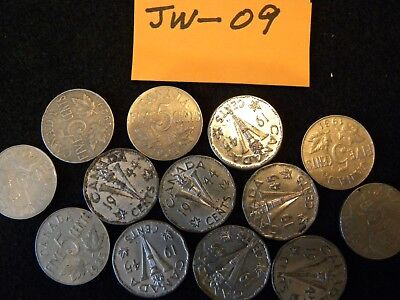 A 13-Coin Lot Of Old Canadian Nickels............jw---09