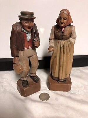 2 Vintage Hand Carved Black Forest Wood Figurines Of German Couple Anri Style