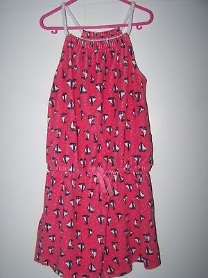 Girls Pink Towelling Sailing Boats Design Shorts Playsuit - Age 7-8 years