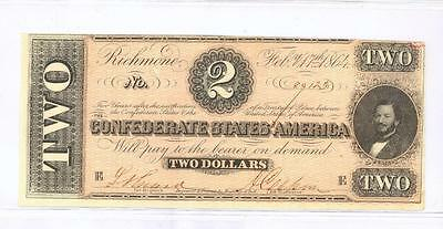 Nice Civil War 1864 Confederate States Csa $2 Two Dollars Choice Cu #ab22