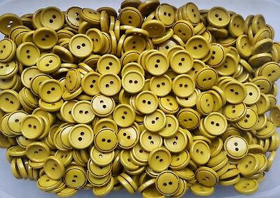 50 x 14mm Yellow Lemon Swirl Patterned 4 Hole Polished Quality 22L Buttons Z224
