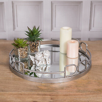Large Round Silver Mirrored Tray Ornate Wedding Table Centre Candle Plate Chic