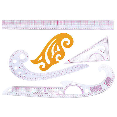 Sewing Measure Tools Kit 5 Stlye French Curve Metric Shaped Ruler for Tailor