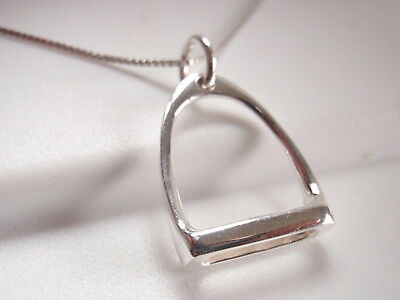 Stirrup Necklace 925 Sterling Silver horse saddle stable riding equestrian bit