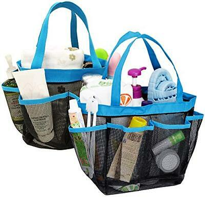 YuCool 2 Pack Portable Mesh Shower Caddy with 8 Storage Pockets Hanging Tote Bag