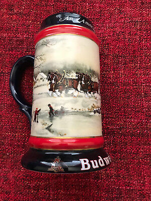 1990 Budweiser Holiday Clydesdale Beer Stein NEW
