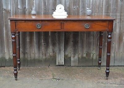 Antique Victorian Mahogany Dressing Table Writing Desk Two Drawers Side Table