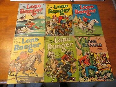 Dell Comic Lot of 6 The Lone Ranger comics 1950