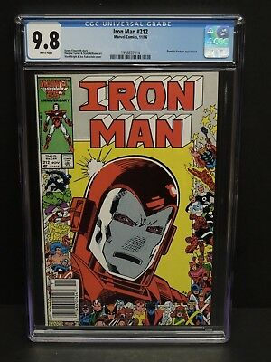 MARVEL COMICS IRON MAN #212 1986 CGC 9.8 WHITE PAGES 25th ANNIV COVER NEWSSTAND