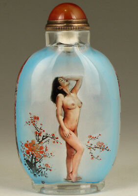limited edition chinese Glass hand Painting Asian Girl body art Big Snuff Bottle