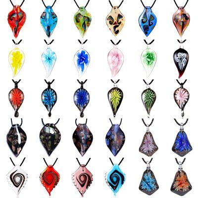 Women Flower Leaf Pattern Lampwork Glass Murano Pendant Necklace Charm Jewelry
