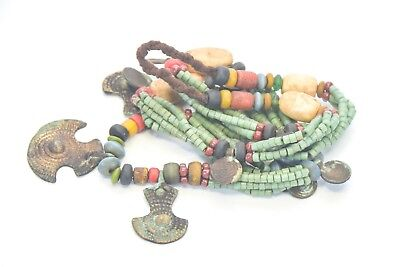 Traditional Naga Necklace with Old Handmade brass beads strands Large Metal