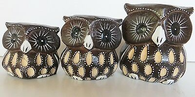 3  WOOD OWLS,FIGURINE HAND CARVED & HAND PAINTED!  Adorable!