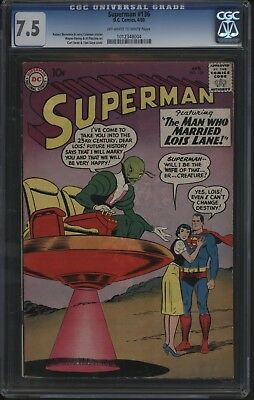 Superman #136 Great Alien Cover From 1960 Cgc 7.5  Fantastic Page Quality