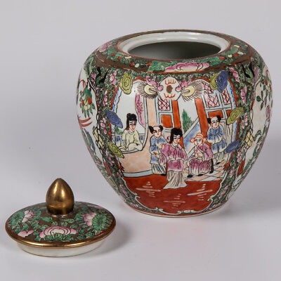 Vintage Hand-Painted Chinese Lidded Ginger Spice Storage Jar W/ Tongzhi Seal