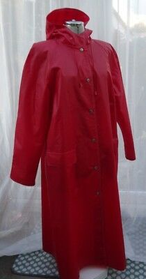 """Vintage Red PVC Cotton Rukka Long Hooded Raincoat Made in Finland Size 44"""" Chest"""