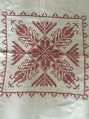 Vintage Linen Luncheon Tablecloth Square 46x46 Off White / Red  Hand Embroidered