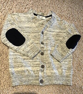 H&M Boy's Toddler Size 2-4 Heather Grey with Navy Blue Accents Cardigan Sweater
