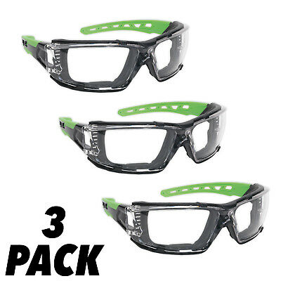 3 Pack Sealey Polycarbonate Safety Glasses Goggles EVA Foam Lining Anti-Scratch