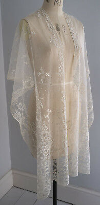 Antique embroidered  dotted net lace shawl