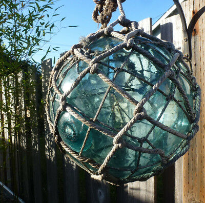 """Japanese Glass Fishing Float 39""""  Circumference Including  Rope Netting"""