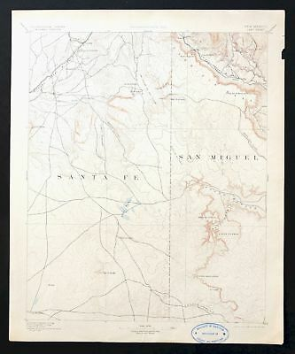 Lamy New Mexico Antique USGS Topo Map 1894 Pajarita Clines Corners Topographic