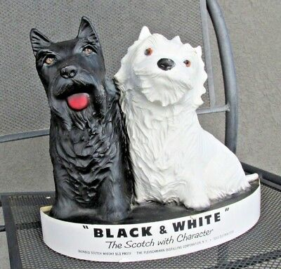 1950'S Black & White Scotch Whiskey  Display Composition Terrier Dogs