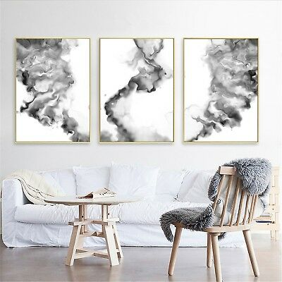 Abstract Art Black White Oil Paint Canvas Poster Modern Wall Decor Unframed A598