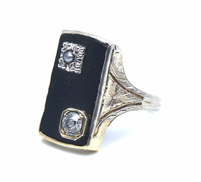 Antique Art Deco Diamond Seed Pearl Onyx Ring Engraved 14K White Gold Size 5.25