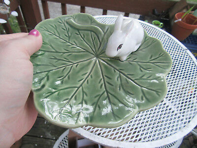 BORDALLO PINHEIRO Portugal Rabbit Bunny candy/cookie Dish Tray  Leaf