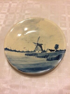 Vintage Made In Holland Delft Blue & White Small Wall Plate