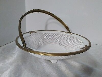 EARLY Germany Porcelain Footed Reticulated Compote Basket with brass trim