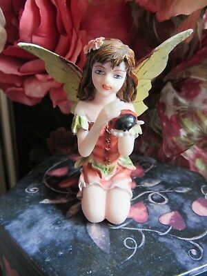 "FAIRY GARDEN miniature 3"" Small Sitting Fairy Figurine with ladybug NEW in BOX"