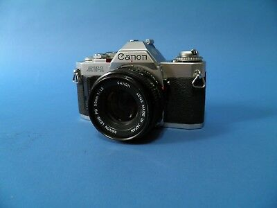 Canon AV-1 With 50mm f1.8 FD Lens And Flash