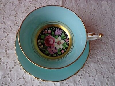 Stunning Paragon Footed Rose Bouquet  Cup And Saucer - Black Center