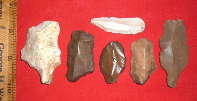 (6) Aterian Early Man Points Tools (30K - 80K BP) Prehistoric African Artifacts