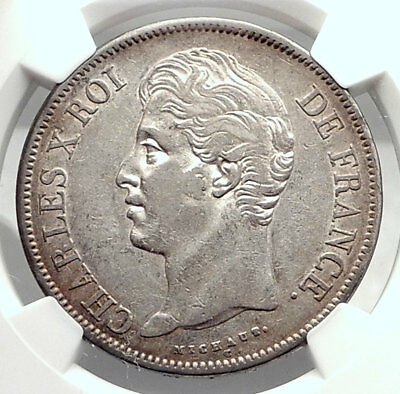 1830 FRANCE King CHARLES X Antique Silver 3.7cm 5 Francs FRENCH Coin NGC i73476
