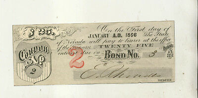 1866 State Of Nevada Bond Coupon #2