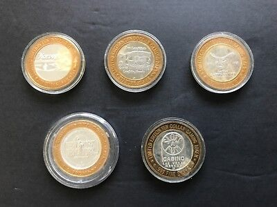 Lot Of Five Casino Silver Stsrike Tokens