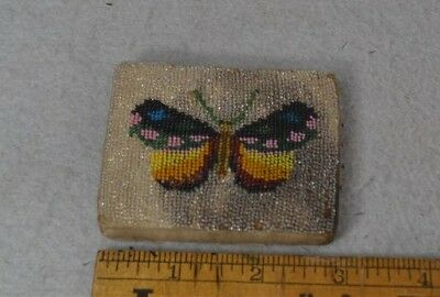 sewing pin cushion keeper beaded butterfly hand made antique original