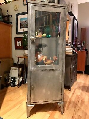Vintage Stainless Steel Industrial or Medical Doctors Display Storage Cabinet