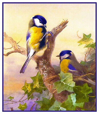 Great Tit Birds on Ivy by Archibald Thorburn Counted Cross Stitch Pattern