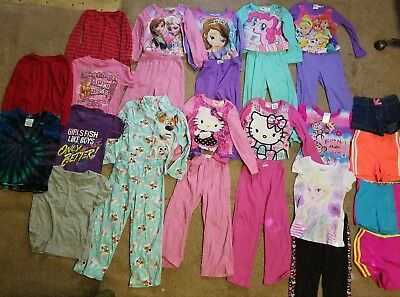 26 + pc. Girls clothing lot disney princess hello kitty frozen pajamas clothes