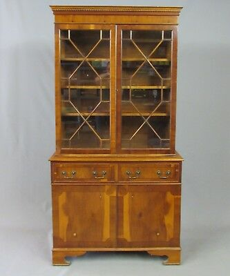 Good Quality Yew Wood Astral Glazed Bookcase Display Cabinet - Delivery Option
