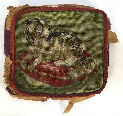 Antique Dog Needlepoint Pillow Front