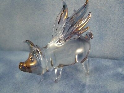 "Blown Solid Glass Flying Pig with gold 3"" long perfect cond."
