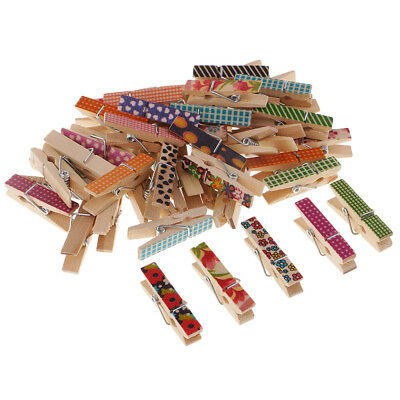 50pcs Mini Pegs Small Wooden Peg Clip Clamp Wood Christmas Decor Craft Clips
